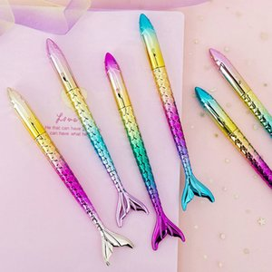 30pcs lot Creative Gradient Ballpoint Pen Kawaii Mermaid Pen Novelty Ball Pen For Kids Girls Gifts School Office Supplies Stationery on Sale