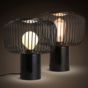 Wholesale black ceramic lamp resale online - Nordic minimalist metal table lamp modern black iron paint cage art design LED lighting for living room decoration desk lamp