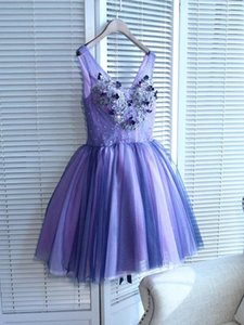 Chic V-Neck Tulle A-Line Lavender Homecoming Dresses Short with Flowers Beading Prettiest Prom Dresses Lace Up Back Semi Formal Party Dress on Sale