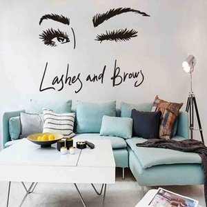 Wholesale Woman Make Up Wall Sticker Eye Eyelashes Wall Decal Lashes Extensions Beauty Shop Decor Eyebrows Brows Mural Beauty Gift