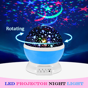 Wholesale Romantic Starry Moon Sky LED Rotating Night Light Projector USB Night Lamp Creative Kids Christmas Birthday Novelty Luminous Toy