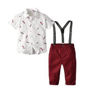 Wholesale feather Boys Clothing Sets Boys Suits bow tie shirt suspender shorts kids designer clothes boys clothes kids sets children clothing A5340