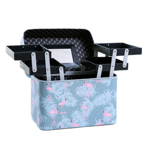 Wholesale Women PU Leather Cosmetic Cases Makeup Box Multilayer Big Make up Bag Beauty Tattoos Nail Art Tool Nail polish Storage Organizer