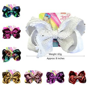 Wholesale 8inch JoJo Reversible Sequins Bow Hairpin Mermaid Glitter Baby Girls Hair Clip Bling Barrettes with Cardboard Hairclip Hair Accessory A21502