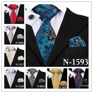 Wholesale Mens Necktie Top whosesale style Floral Silk Handkerchief Weeding Party Business Tie Pocket Square Cufflinks SN