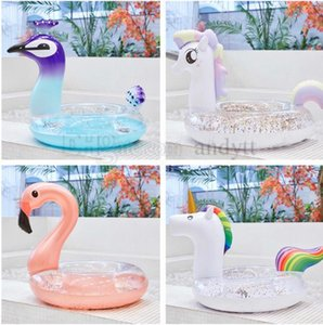 Hot-selling inflatable sequins Unicorn float Peacock Princess Flamingo swimming ring adult water circle Bath Toys 4680