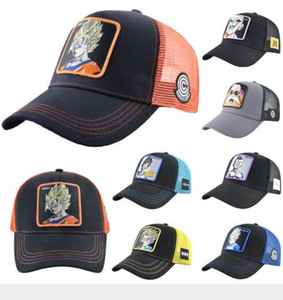 Wholesale New Dragon Ball Mesh Hat Anime Majin Buu Roles Baseball Cap High Quality Curved Brim Snapback Cap Gorras Casquette Dropshipping