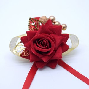 Wholesale Chinese Wedding Bride Bridegroom Corsage Colors Artificial Red Rose Bride Wrist Flower Brides Hair Accessories Pieces ePacket