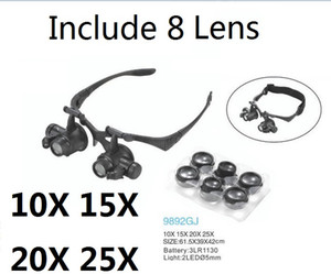 Wholesale Magnifying Glass X X X X Eye Jewelry Watch Repair Magnifier Glasses With LED Lights and Lens New Loupe Microscope