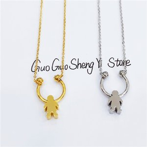 Wholesale Stainless Steel Necklace Mother s Day Necklaces Jewelry Silver Color Love Girl Boy Bear Pendant Choker Necklace Women Gift