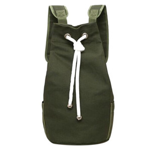 Wholesale Large Capacity Barrel Backpack Casual Men Canvas Backpack Army Green String Drawstring Day pack for Men Back Pack Backpacks