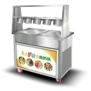Wholesale Free air ship CE V V R410 R22 LED commercial Stainless Steel Fried Ice Cream Machine Single Pan Freezer ice pan machine