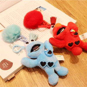 Sesame Street Cartoon Plush Doll Keychains Red Blue Colors Key Chain School Handbag Ornaments Women Fashion 9 5yh E1