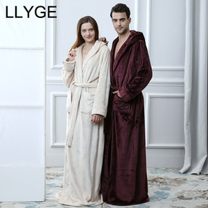 Men Hooded Extra Long Flannel Couple Robe 2018 Autumn Winter Lover Homewear Nightgown Woman Men's Thick Warm Sleepwear BathRobes