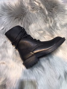 Wholesale sale ANN DEMEULEMEESTER designer flat heeled genuine leather best high quality shoes women sneaker Lace Up ankle Boot ankle Boots