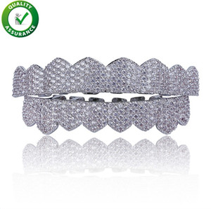 ingrosso griglie di diamanti-Hip Hop Jewelry Mens Diamond Grillz Denti Charms stile Pandora Gold Designer di lusso Griglia ghiacciata Fashion Rapper Men Fashion Accessories