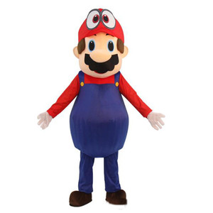 Wholesale Super Mario Odyssey Adult hat Mascot Costume Fancy Dress Lovely Brothers Suit for Halloween party event