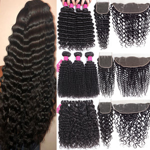 9A Brazilian Virgin Hair Bundles With Closures 4X4 Lace Closure Or 13X4 Ear To Ear Lace Frontal Closure Human Hair Bundles With Closure