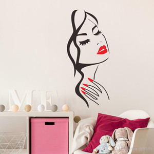 Wholesale Beauty DIY Vinyl Wall Sticker Salon Decor Red Lip and Finger Woman Face Wall Art for Living Room Girls Room and Salon Decoration