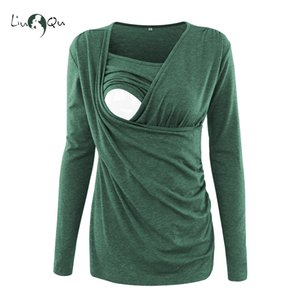 Nursing Tops Maternity Winter Clothes Long Sleeve T Shirt Breastfeeding Top Pregnancy Clothes Women Blouse Plus Size Green Pink