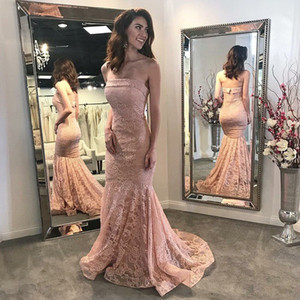 Wholesale Elegant Mermaid Formal Evening Party Gowns 2020 abiye gece elbisesi Strapless Backless Pink Long Lace Evening Dresses