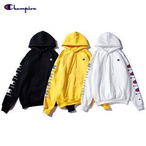 Wholesale New Long sleeved strings Champions small logo printed classic embroidery Sweatshirts solid color With cashmere cap sweater Hoodies