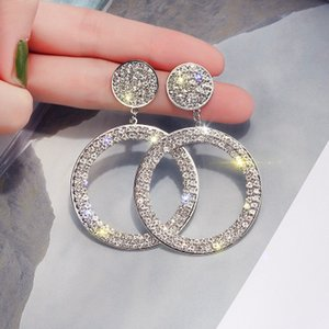 European Style Fashion exaggerate geometry Round Crystal Circle Dangle Earrings Studs temperament Ear Studs Woman Jewelry