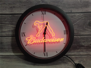 led neon uhren großhandel-0E133 Budweiser Exotic Dancer Stripper Bar APP RGB LED Neon Licht Zeichen Wanduhr