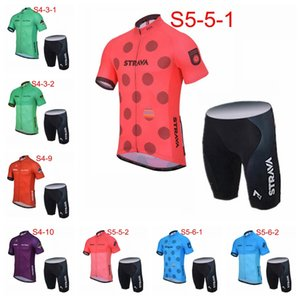 Wholesale STRAVA team custom made Men Breathable Summer Short Sleeve Cycling Shorts Sports Jersey Set Cycling Short Sleeves jersey shorts sets S71611