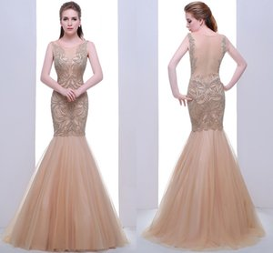 High-End Round Neck Sexy Fishtail Bag Hip Net Formal Evening Dresses Champagne Heavy Handmade Backless Long Spring And Party Dresses