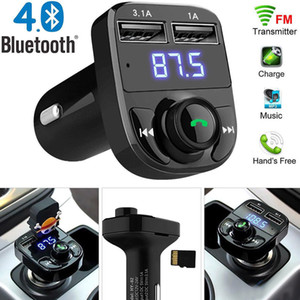 audio aux  großhandel-X8 FM Sender Aux Modulator Bluetooth Freisprecheinrichtung Car Kit Auto Audio MP3 Player mit A Schnellladung Dual USB Autoladegerät Accessorie MQ30