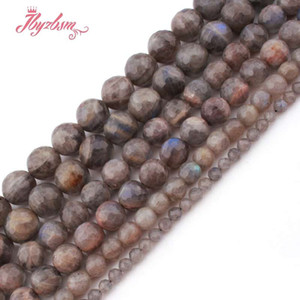 Wholesale 6 mm Round Faceted Gray Labradorite Beads Ball Natural Stone Beads For DIY Necklace Jewelry Making Strand quot
