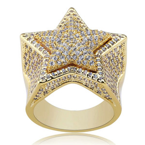Wholesale hip hop star diamonds rings for men luxury crystal gold silver ring k gold plated copper zircons ring jewelry gifts for bf