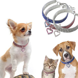 Wholesale 25 cm Dog Collars T Cat Neck Chain Pet Heart Pendant Necklace With Bling Rhinestones New Arrival cz E1