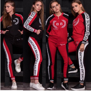 Wholesale Sexy Two Piece Set Women Tracksuits F letters Print long sleeve T shirt Crop Top and Pants Woman Track Suit Piece Outfit
