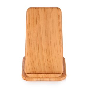 Wholesale QI vertical wooden mobile phone fast charging wireless charger W high power with beige dark brown two options