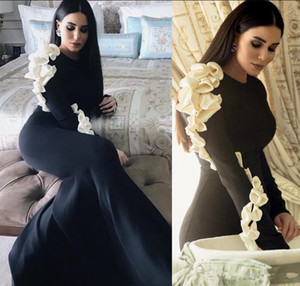 Wholesale silver sexy mother bride dresses resale online - 2019 Black Mermaid Formal Evening dress Handmade Flowers Long Sleeves Prom Dresses Trumpet Mother Bride Dress robe de soire