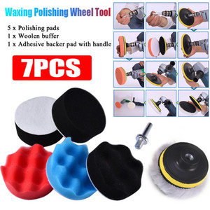 Wholesale buffer pads resale online - 7pcs CM Car Polishing Wheel Kit Polishing Buffing Pad Kit for Auto Buffer With Drill Adapter Car Removes Scratches