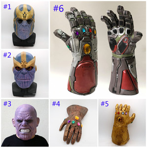 6 Style Avengers 4 Endgame Thanos mask Iron Man gloves 2019 New Children's adult Halloween cosplay Natural latex Infinity Gauntlet Toys B