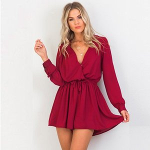 Wholesale Women Sexy V neck Jumpsuit Bow Tie Chiffon rompers Long Sleeve Playsuit Ladies Solid Color Loose Short Jumpsuit YL