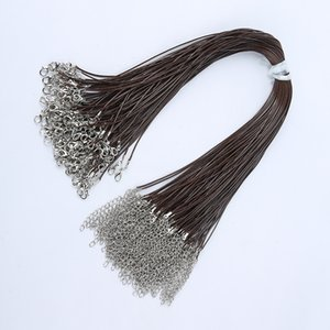 Brown 2.0mm 1.5mm Wax Leather Snake Necklace Beading Cord String Rope Wire 45cm Extender Chain with Lobster Clasp DIY jewelry Making