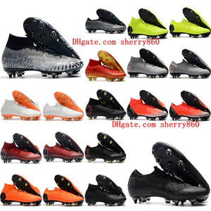 2018 mens soccer cleats Mercurial Superfly VI Elite SG AC football boots cr7 neymar soccer shoes chuteiras high ankle botas de futbol black
