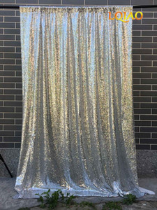 Wholesale 120x300cm Silver Sequin backdrops Glitter Sequin Curtain Wedding Photo Booth Backdrop Photography Background Party Decoration