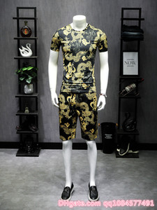 2019 Men Shirts+Shorts Individual domineering gold dragon printing suit Short Male Printing Dress Suit Sets Plus Size M-5XL on Sale