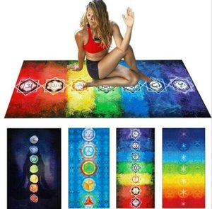 Rainbow 7 Chakra yoga mat Mandala Bohemia Blanket Tapestry Beach Towel Yoga Mat Tapestry Summer Beach mat KKA6819 on Sale