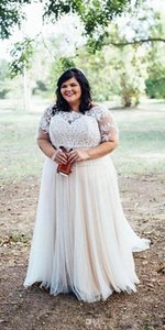 Wholesale Elegant Country Plus size Wedding Dresses with Illusion Sleeves Jewel Neck Sweep Train White Ivory Wedding Bridal Gowns Cheap vestidos De