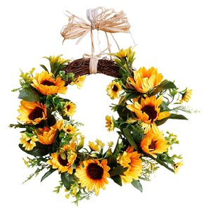 Wholesale 16 Inch Sunflower Rustic Farmhouse Decorative Artificial Flower Wreath Faux Floral Wreath for All Seasons Indoor Outdoor