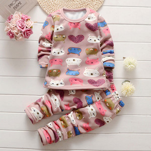 Wholesale Girls Boys Autumn Winter Plush Thermal Underwear Sets Christmas Outfit Kids Clothes Suit For Y Baby Children Warm Clothing
