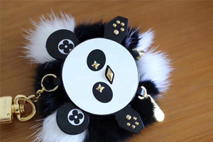 Wholesale Luxury Designer Keychain Stainless Steel leather Cat Panda Shape Keyring Accessory Car Keychains Key Ring Holder Keyring for Gifts with Box