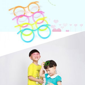 Wholesale Funny Soft Glasses Straw Unique Flexible Drinking Tube Kids Party Colorful Safety Cute Plastic Reusable Juice Drinking Straws DH1265 T03